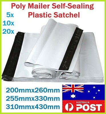 3 Size Poly Mailer Courier Self-Sealing Plastic Shipping Satchel Post Bag 5-20pc