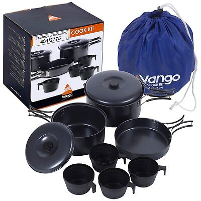 Vango 4 Person Portable Non Stick Camping Hiking Pots & Pans Cookware Set Lids