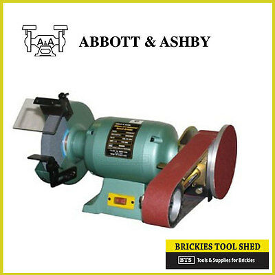 "ABBOTT & ASHBY 8"" 200mm BENCH GRIDNER WITH LINISHER ATTACHMENT- 2YR AUS WARRANTY"