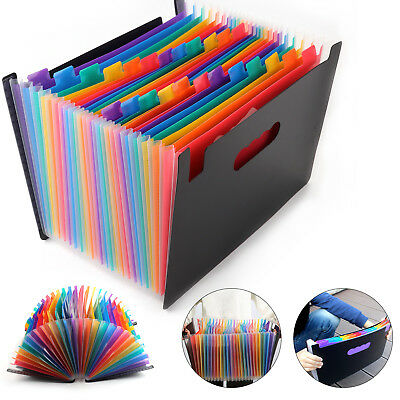 24 Pocket A4 Office Expanding File Box Folder Case Document Bag Organiser School