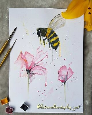 A4 watercolour Art print of my busy bee. High quality 300gsm paper