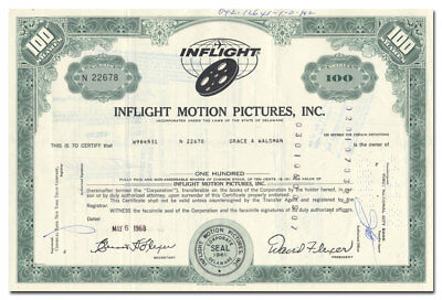 Inflight Motion Pictures, Inc. Stock Certificate, Pioneered TWA In Flight Movies