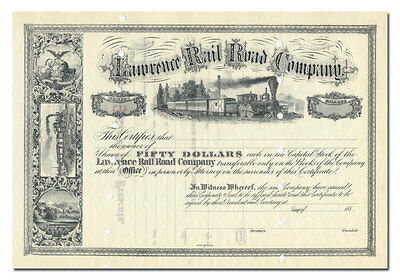 Lawrence Rail Road Company Stock Certificate (1880's)