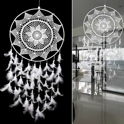 40cm Large Dream Catcher White & Gold Feathers Wall Home Office Hanging Ornament