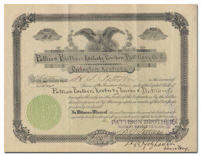 Pattison Brothers Kentucky Bourbon Distillery Company Stock Certificate