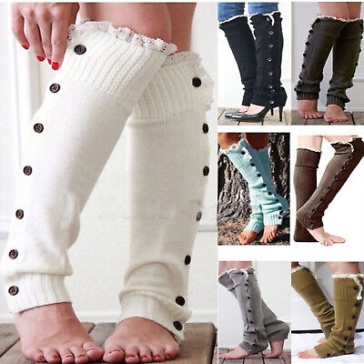 Womens Winter Warm Knitted Leg Warmers Cable Knit Crochet High Long Boots Socks
