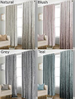 Crushed Velvet Blackout Eyelet Curtains Thermal Fully Lined Silver Cream 3 Sizes
