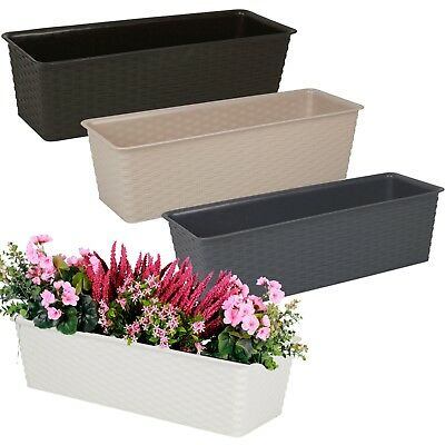 Rattan Design Elegant Rectangular Flowerpot Planter Plant Pot Indoor Outdoor NEW