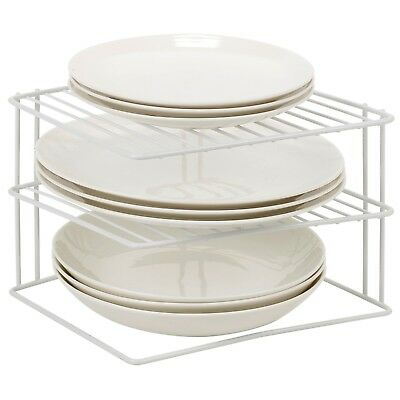 Laminated Metal Wire 2 Tier Corner Plate Stand Rack Kitchen Cupboard Storage NEW  sc 1 st  PicClick UK & 4 TIER Wire Corner Plate Stand Stacker Holder Storage Rack Cupboard ...