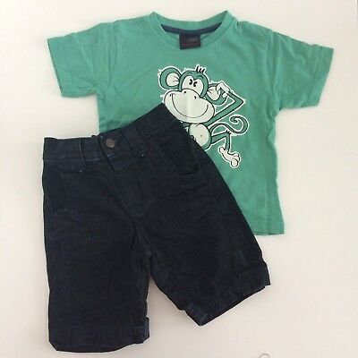 Next Baby Boy Green Cool Dude T-shirt And Black Denim Shorts Outfit, Size 12-18
