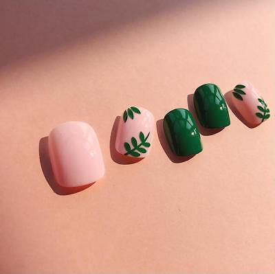 Press On Fake Nails Women's Lovely Fingers Accessories Pink Green Leaves Designs