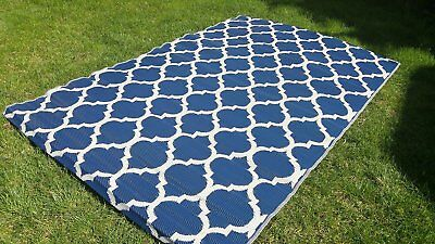 Moroccan Outdoor Quatrefoil Recycled Geometric Blue White Area Rug 6