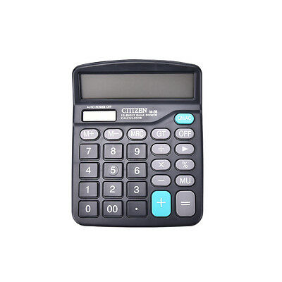 Office 12-Digit Desktop Electronic Calculator Dual Power Supply Solar&Batte _M0