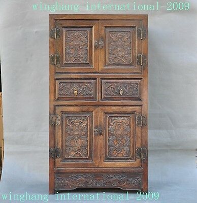 China huanghuali wood carving wealth bat Bats Storage Box Boxes Cabinet Cupboard