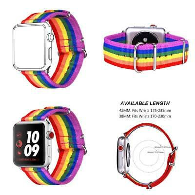 Replacment Strap For Apple Watch Band Pride Rainbow Color Lgbt Wrist Brace 42Mm