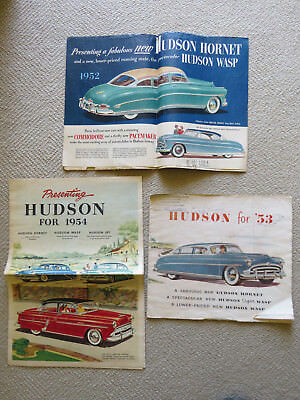 Lot of 3 Vintage HUDSON 1952, 1953, 1954 Hornet, Wasp, Jet Brochure Catalog
