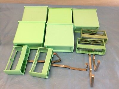 A lot of 5 Green Plastic Stain Dishes with 4 Microscope Slide Holders (24-place)