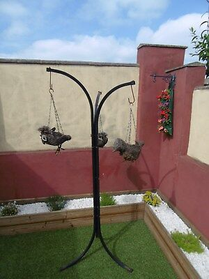 3 Arm Free Standing Metal Hanging Basket Patio Stand 3 Bird