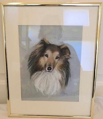 COLLIE DOG FRAMED CHARCOAL DRAWING Signed
