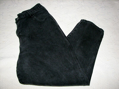 Vintage Gitano Black Denim Tapered Leg Jeans 33X27 Shortened