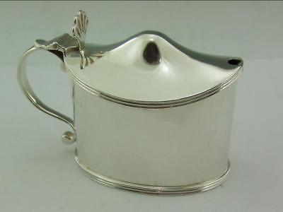 Excellent Large Oval Solid Silver Mustard Pot Lionel Alfred Crichton