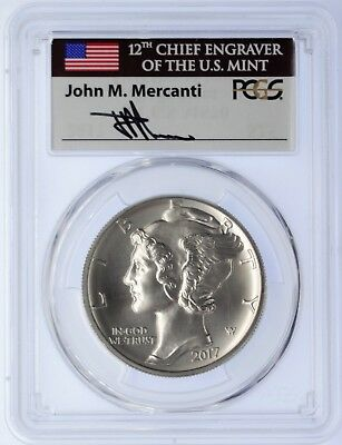 2017 $25 Palladium PCGS MS70 First Day of Issue  Mercanti Flag Label Signed