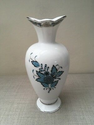 Herend Vase Apponyi Turquoise Platinum Collection New With Box