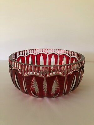 Saint Louis Hand Carved Red Crystal Bowl