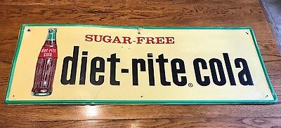 Diet Rite Embossed Metal Soda Advertising Sign Bottle Gas Station Country Store