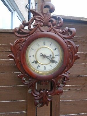 Antique,carved Mahogany Wall Clock