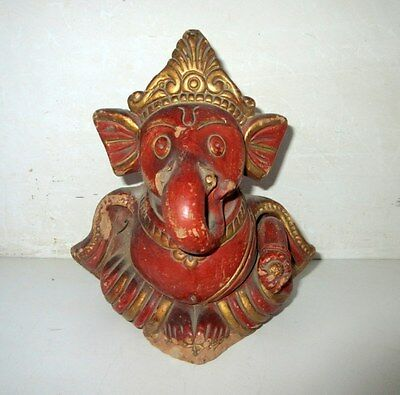 Old Antique Handcrafted Terracotta Clay Brown Hindu God Ganesha Statue Sculpture