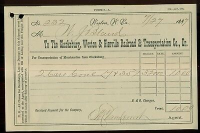 1887 Clarksburg,Weston & Glenville Railroad & Transportation Co. Receipt