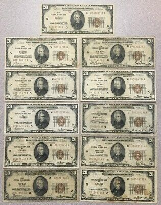 11 Piece Lot $20 National Currency Chicago, Minneapolis, New York Series 1929