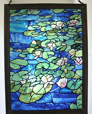 "Stained Glass Window Sun Catcher Hanging Lily Pads 8.25"" x 11"""