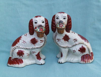 Staffordshire Red Russet King Charles Spaniels Pair Male Female W Flower Baskets
