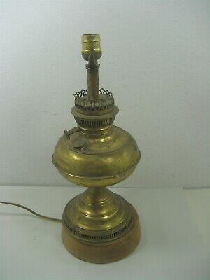 "Vintage Rayo Leviton Victorian Metal Brass Electric Table 17.75"" Lamp Stand"