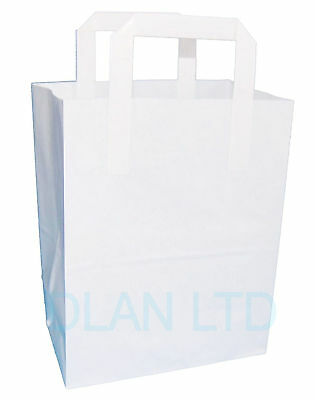 SOS Takeaway White Kraft Paper Carrier Bags with Flat Handles - Free Delivery