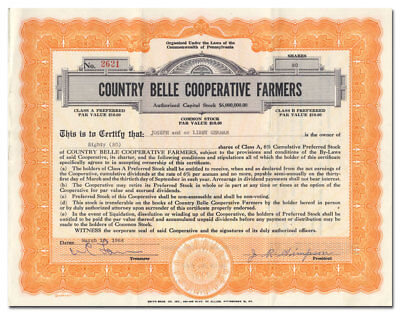 Country Belle Cooperative Farmers Stock Certificate (Pennsylvania Milk Farms)