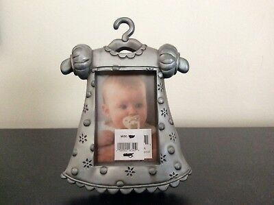 "Malden Baby Girl Metal Pewter Picture Frame -Dress On A Hangar-3 1/4"" x 2 1/4"""