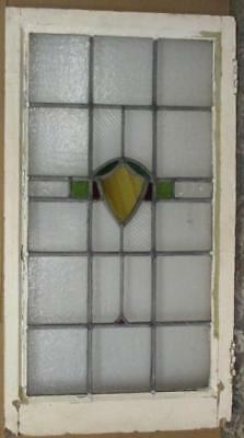 """LARGE OLD ENGLISH LEADED STAINED GLASS WINDOW Nice Abstraction 21"""" x 37.75"""""""