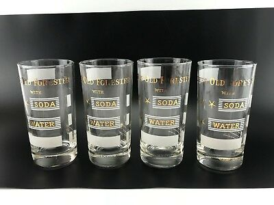 Vtg Likes Old Forester With Soda Water Kentucky Bourbon Whiskey Glasses Lot of 4