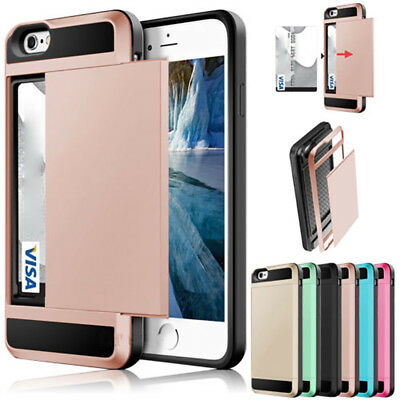 Shockproof Wallet Credit Card Holder Case Cover For Apple iPhone 6s 7 8 Plus X