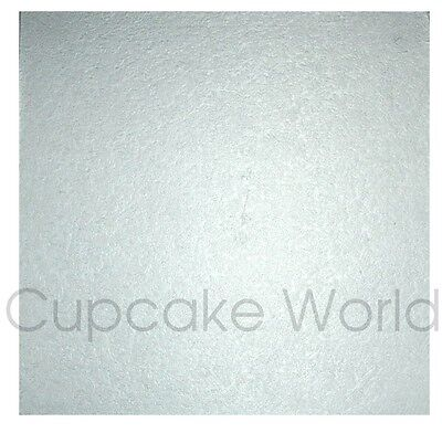 """NEW! 12"""" SILVER SQUARE MASONITE 5mm THICK WOOD WOODEN CAKE BOARD BASE FREE POST"""