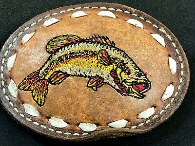 Vintage Hand Crafted Leather Fish Jumping bass Fishermans Colored Belt Buckle