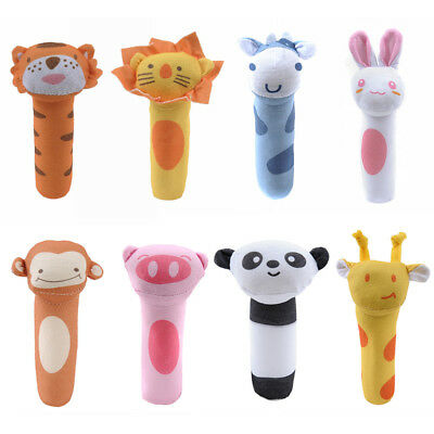 Baby Kid Grasp Stick Doll Toy Rattles BB Cartoon Animal Plush soft Toys Gift New
