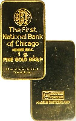 First National Bank Of Chicago 1g 1 Gram .999 Fine Gold Bar