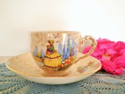 Vintage Crinoline Lady Tea Cup & Saucer Empire England All Over Floral Gold