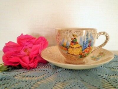 Vintage Crinoline Lady Tea Cup & Saucer Empire England All Over Floral Gold **