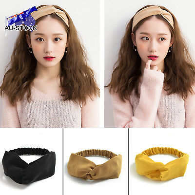 AU STOCK Vintage Women Elastic Suede Headband Bohemian Cross Knot Hairband Hair