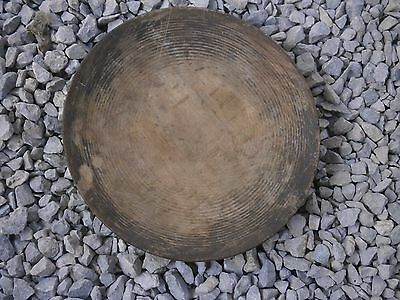 Antique Vintage Wooden Plate With Perfect Dark Patina